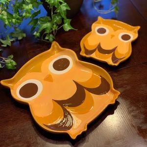 """2 Owl Platters 12""""x10.5"""" 8""""x7"""""""